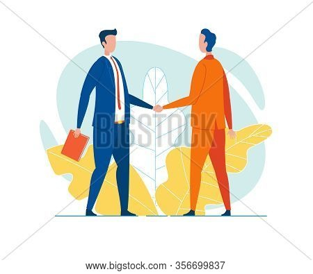 Businessmen In Lounge Suits, Experienced Competitors Or Partners Of Long Standing, Shaking Hands, Gr