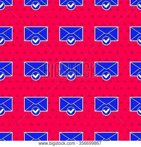 Blue Envelope And Check Mark Icon Isolated Seamless Pattern On Red Background. Successful E-mail Del