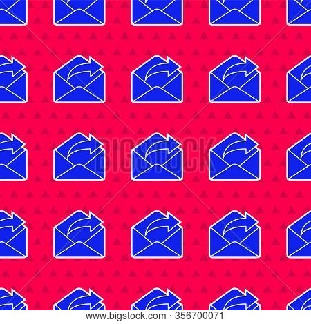 Blue Outgoing Mail Icon Isolated Seamless Pattern On Red Background. Envelope Symbol. Outgoing Messa
