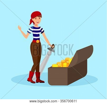 Girl Pirate With Saber Flat Color Illustration. Young Woman In Striped T Shirt And Bandana Cartoon C