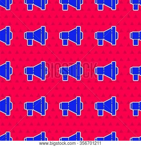 Blue Megaphone Icon Isolated Seamless Pattern On Red Background. Loud Speach Alert Concept. Bullhorn