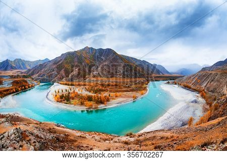 Confluence Of Chuya And Katun Rivers In Altai, Siberia, Russia. Famous Tourist Destination In Altai