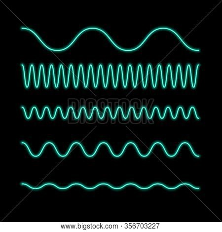 Vector Neon Flat Icon Of Wave Line Amplitude Isolated