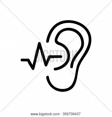 The Ear Hears A Sound Wave Icon Vector. The Ear Hears A Sound Wave Sign. Isolated Contour Symbol Ill