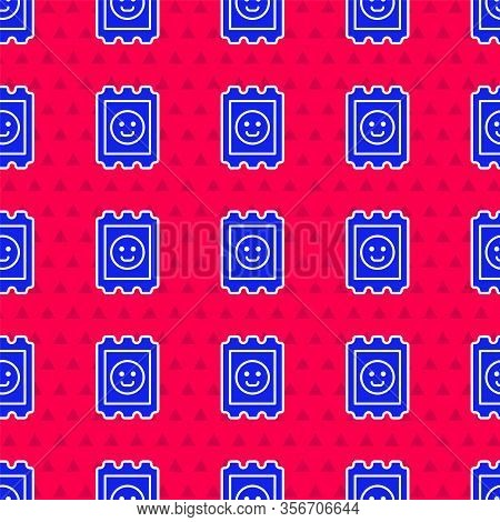 Blue Lsd Acid Mark Icon Isolated Seamless Pattern On Red Background. Acid Narcotic. Postmark. Postag