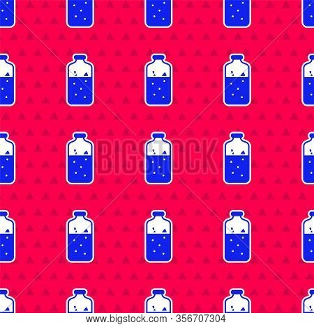 Blue Mulled Wine With Ingredients Icon Isolated Seamless Pattern On Red Background. Cinnamon Stick,