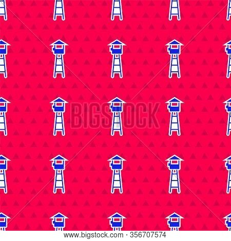 Blue Watch Tower Icon Isolated Seamless Pattern On Red Background. Prison Tower, Checkpoint, Protect
