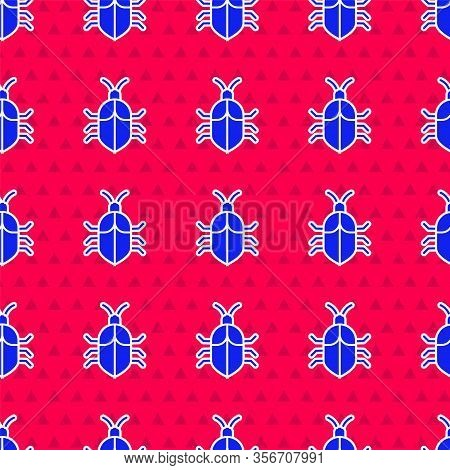 Blue System Bug Concept Icon Isolated Seamless Pattern On Red Background. Code Bug Concept. Bug In T