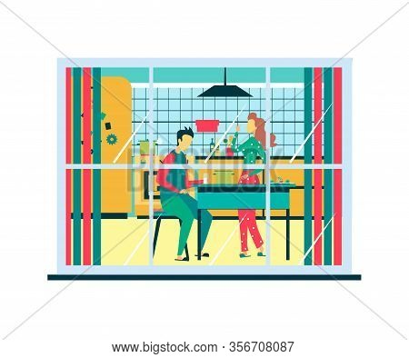 Man Woman Family Relationships Vector Illustration Cartoon Flat Style Married Couple Having Dinner O