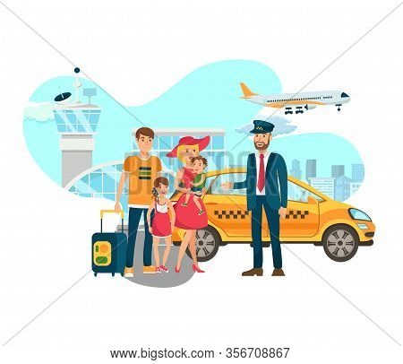 Airport Transfer, Shuttle Services Flat Vector. Happy Taxi Driver Meets Family With Luggage Isolated