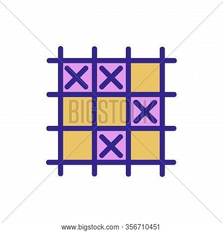 Game Tic Tac Toe Icon Vector. Game Tic Tac Toe Sign. Color Isolated Symbol Illustration