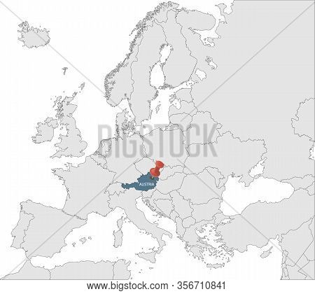 Map Of European Union With The Identication Of Austria. Map Of Austria. Political Map Of Europe In G