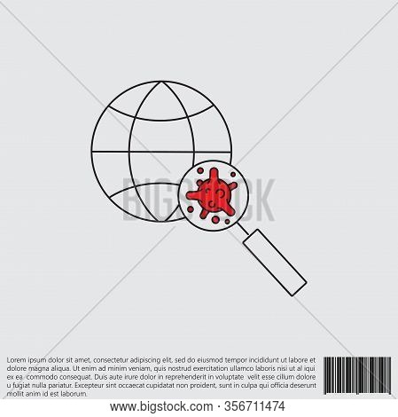 Virus, Bacteria Through A Magnifying Glass On Globe Line, Linear Icon, Symbol, Sign. Coronavirus, Co