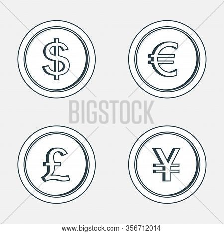 Gold Coins Icon. Coins With Images Of Currencies Of Different Countries - Dollar, Euro, Pound Sterli