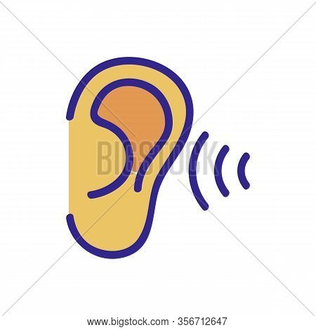 The Ear Hears Sound Icon Vector. The Ear Hears Sound Sign. Color Isolated Symbol Illustration