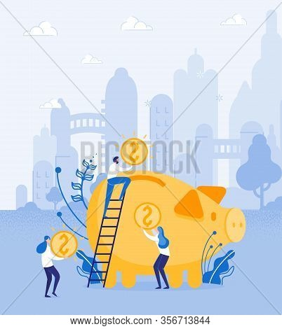 Profit Is Teamwork. Business Partners, Bringing Huge Golden Coins To Common Piggy Bank, Making His O