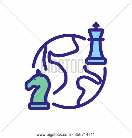 Global Tournament Chess Icon Vector. Global Tournament Chess Sign. Color Isolated Symbol Illustratio