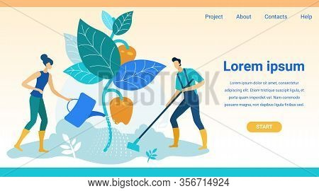 Woman And Man Grow Peppers On Garden. Vector Illustration. Natural Product. New Technologies. Farm P