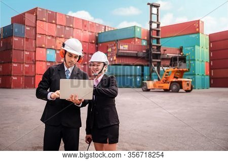 Logistics Engineer Control At The Port, Loading Containers For Trucks Export And Importing Logistic
