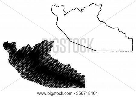 Shiselweni Region (swaziland, Kingdom Of Eswatini) Map Vector Illustration, Scribble Sketch Shiselwe