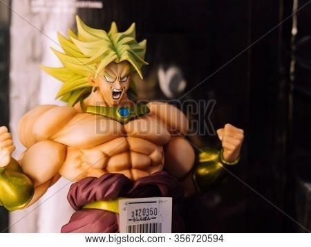 Tokyo, Japan - 10/09/2019; Broly Figure From Dragon Ball As A Sign Of Strength Showing His Huge Musc