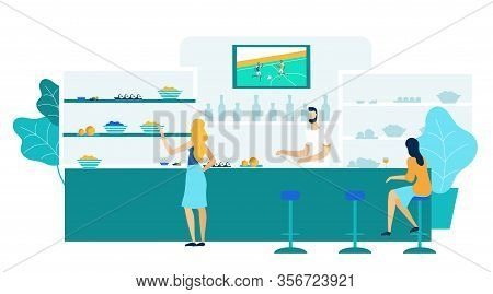 Young Women In Bar, Pub Flat Vector Illustration. Tavern Customers And Bartender Cartoon Characters.