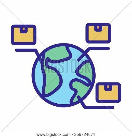 Export Worldwide Icon Vector. Export Worldwide Sign. Color Isolated Symbol Illustration