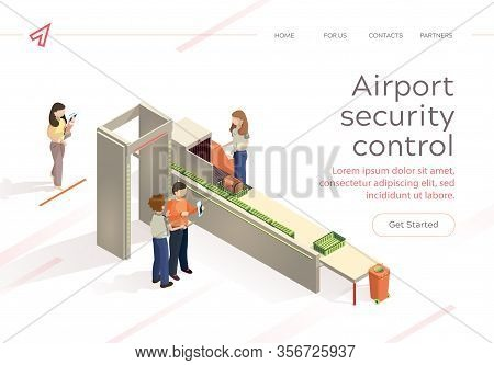 Flat Vector Airport Security Control Baggage Check. Control Aviation Security In Airport Building. W