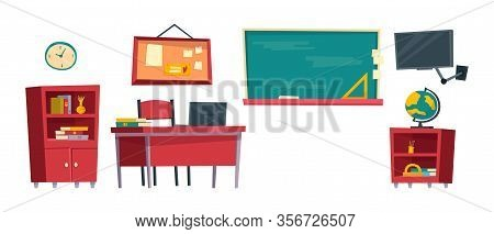Set Of Cartoon Classroom Furniture Vector Illustration Isolated On White Background. School Class In