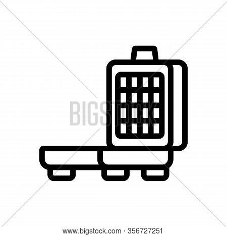 Patisserie Waffle Iron Icon Vector. Patisserie Waffle Iron Sign. Isolated Contour Symbol Illustratio