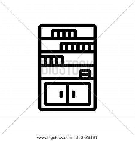 Cabinet Shelf Icon Vector. Cabinet Shelf Sign. Isolated Contour Symbol Illustration