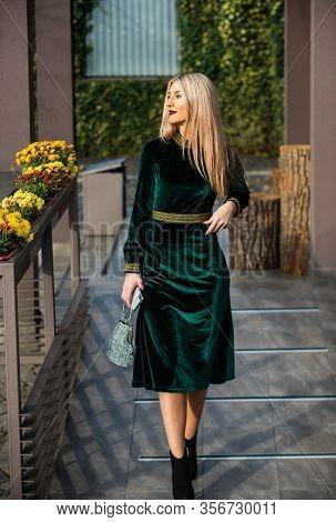 She Is Really Cute. Modern Life. Blonde Girl Care Gem Stone Handbag Or Purse. Glam Clutch Accessory.