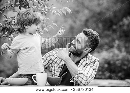 Father Son Eat Food And Have Fun. Menu For Children. Homemade Meal. Food Habits. Little Boy With Dad