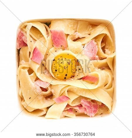 Pasta Carbonara With Pappardelle In Eco Cup Isolated On White. Beautiful Fast Food Pasta In Take Awa