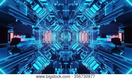 3d Illustration Background Wallpaper Graphic Artwork With Blue Neon Wireframe Science Fiction Tunnel