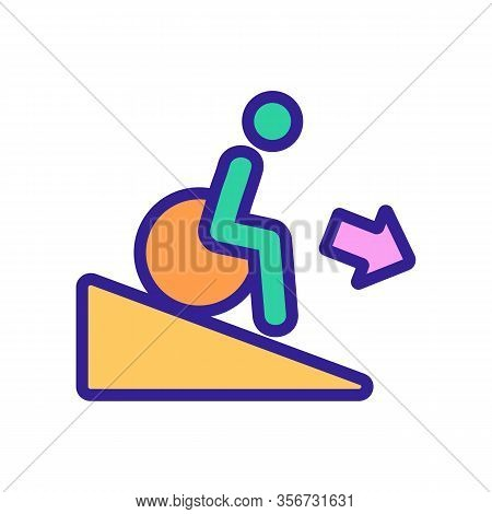 Man Down Wheelchair Icon Vector. Man Down Wheelchair Sign. Color Isolated Symbol Illustration