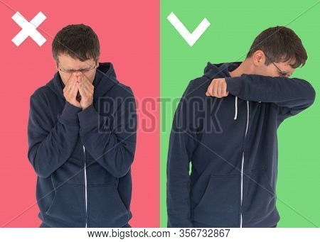 Comparison Between Wrong And Right Way To Sneeze To Prevent Virus Infection. Caucasian Man Isolated