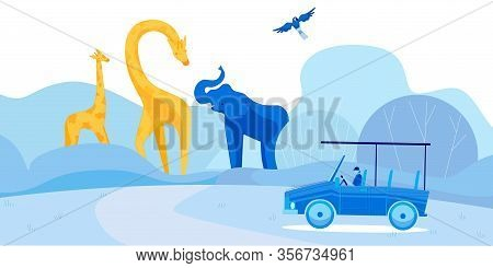 Young Man On Car In African Wilderness Atmosphere. Adventurous Cartoon Male Character Driving Van An