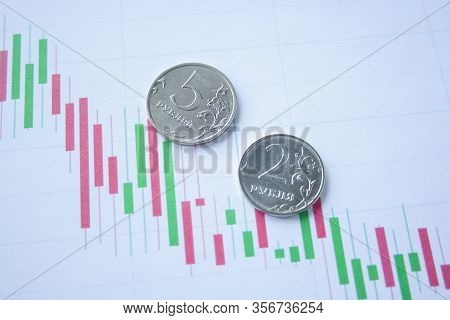Two And Five Rouble Coin On Currency Graph. Exchange Rate Chart. Ruble Depreciation. Exchange Rate O