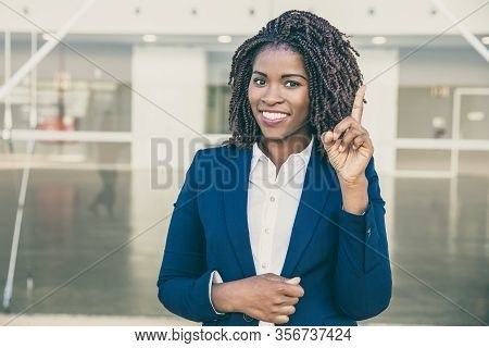 Happy Confident Professional Having Great Idea. Young African American Business Woman Standing Outsi