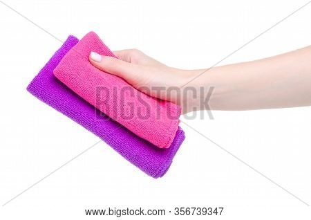 Two Cleaning Rags In Hand On White Background Isolation