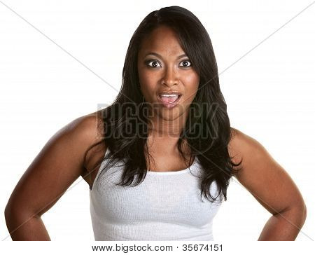 Shocked Woman Over White