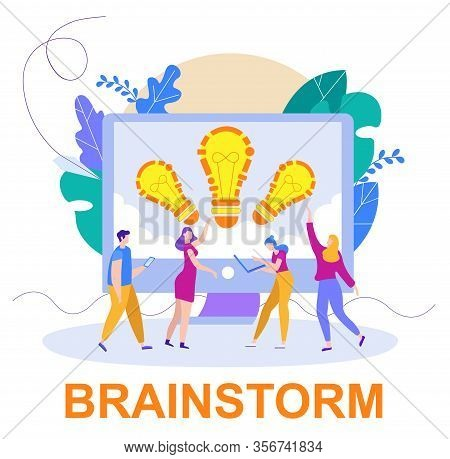 Advertising Poster Inscription Below Brainstorm. Creativity Employees Model And Contribute To Develo