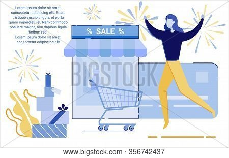 Holiday Shopping Event Flat Vector Banner Template. Woman Visiting Luxury Boutique Gowns Sale Cartoo