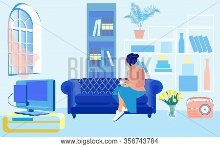 Young Woman, Having Her Coffee, Sitting On Blue Cozy Sofa With Comfortable Mattress. Spacious Room W