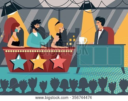 Television Show Broadcasting With People Sit At Desk With Stars And Host Or Tv Presenter At Table Un