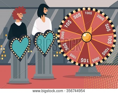 Couple Of Love Show Participants Characters Stand On Podiums With Glowing Heart Decoration Near Of F