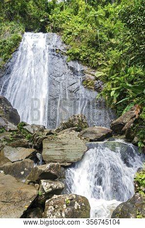 La Coca Falls Of El Yunque National Forest In Puerto Rico