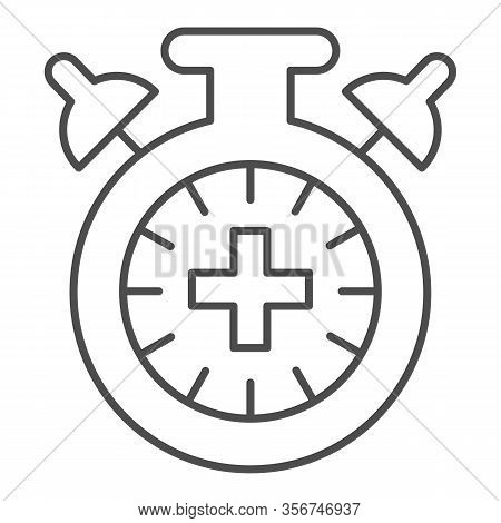 Match Extra Time Thin Line Icon. Overtime Game, Stopwatch Or Timer Symbol, Outline Style Pictogram O