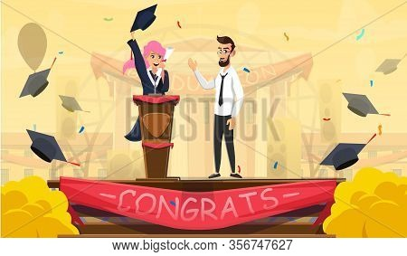 Young Smiling Female Student In Gown Giving Graduation Ceremony Speech On Stage. Mortarboard With Te
